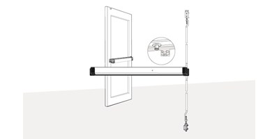 8600 Series (Life-Safety) Narrow Stile Concealed Vertical Rod Exit Device